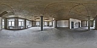 Empty room without repair. full seamless spherical hdri panorama 360 degrees in interior of white loft room office with panoramic stock photography