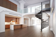Empty room of residence. With a spiral staircase Stock Photography