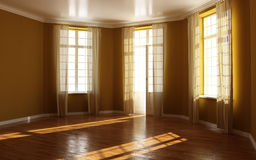 Empty room. Empty residential room with wood floors and brown walls Stock Photos