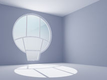 Empty room with a round window Stock Photography