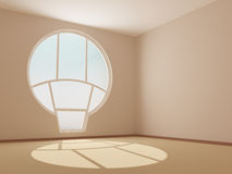 Empty room with a round window Royalty Free Stock Photo