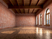 Empty room with rustic finishes of a residential. Interior or office space. 3d illustration Royalty Free Stock Photo