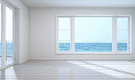 Empty room sea view with clipping path for background Stock Images
