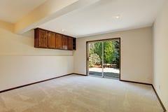 Empty room with slide door to backyard Stock Photography