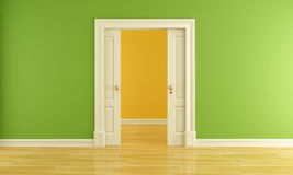 Empty room with sliding door Royalty Free Stock Photos
