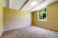 Empty room with soft brown   carpet floor and vaulted ceiling Stock Photography