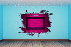 Empty room with splash hole Royalty Free Stock Images