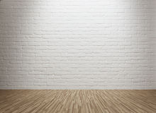 Empty room. With spot lit brick wall and copy space Royalty Free Stock Images