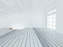 Empty room with the stairs and a bi window, 3d Royalty Free Stock Images