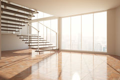 Empty room with stairs and sunlight Royalty Free Stock Photos