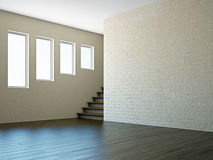 Empty room with stairway window Royalty Free Stock Images