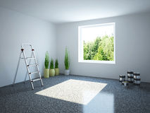 Empty room with a stepladder Stock Photos