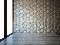 Empty room with stone wall and parquet floor Royalty Free Stock Photo