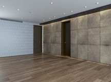Empty room with stone wall and parquet floor Stock Images
