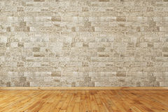 Empty room. With stone wall and wooden floor Royalty Free Stock Photography