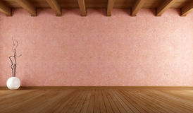 Empty room  with stucco wall. Empty room with salmon pink stucco wall and wooden ceiling - rendering Royalty Free Stock Images