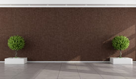 Empty room with stucco wall brown. And two indoor plants - rendering Stock Photo
