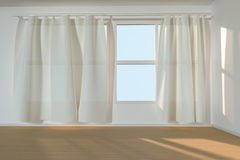 An empty room with sunshine come through the curtain, 3d rendering. Computer digital drawing, window, home, interior, wall, white, floor, unfurnished royalty free illustration