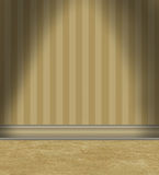 Empty Room With Tan Striped Wallpaper stock illustration