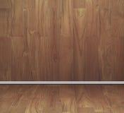 Empty room of teak wood board texture wall and floor Stock Image