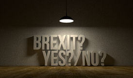 Empty room with the text: Brexit yes or no. Art illustration symbolise that United Kingdom leaves European Union. Dark scene with shining lamp Royalty Free Stock Photo