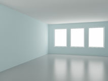 Empty room, with three windows. 3d illustration Stock Photography