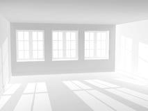Empty room with three windows Royalty Free Stock Photos