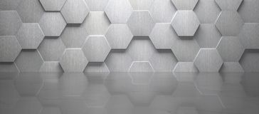 Empty Room With Tiled Wall and Marble Floor 3d Render. Creative empty room with hexagon-shaped tiled metal wall and marble floor 3d render stock illustration