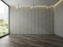 Empty room with tree glass lamps 3D rendering Royalty Free Stock Photos