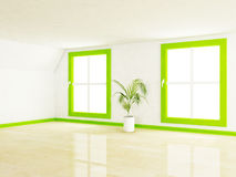Empty room with two big windows and a plant Stock Photography