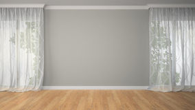 Empty room with two curtains Stock Photography