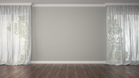 Empty room with two curtains. 3D