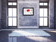 Empty room with two windows and a carpet Royalty Free Stock Image