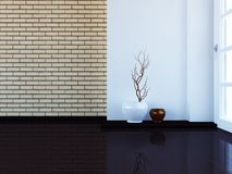 Empty room with the vases near the window, 3d. Rendering Stock Image