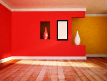Empty room with the vases. And a picture on the wall Royalty Free Stock Photos