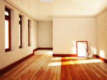 Empty  room with the vases and the windows Royalty Free Stock Photo