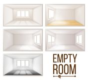 Empty, Room, Vector., Wall., Sunlight, Falling, Down., House, Interior, Background., Comfortable, Construction., 3d. Empty Room Set Vector. Clean, White, Empty Royalty Free Stock Image