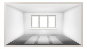 Empty Room Vector. Empty Wall. Sunlight Falling Down. House Interior Background. Comfortable Construction. 3d Realistic. Empty Room Vector. White Wall. Plastic Stock Image
