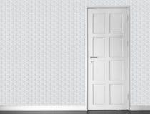 Empty room - vinatge white brick wall and white wood door and ol Stock Photo