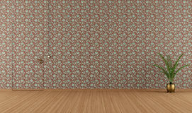 Empty room with vintage wallpape Royalty Free Stock Photo