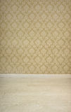 Empty room with vintage wallpaper Stock Images