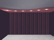 Empty room in violet colors, 3d Royalty Free Stock Images