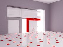 Empty room with the wall decor and the vase, 3d Stock Image