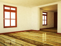 Empty room in warm colors with two windows Royalty Free Stock Photo