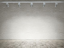 Empty room with white brick wall background. Empty room with white brick wall Royalty Free Stock Images