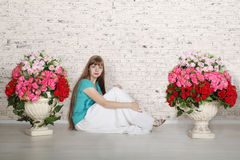 Empty room with white brick wall Stock Photography