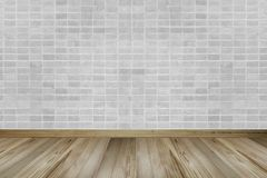 Vintage interior with brick wall and wooden floor stock image