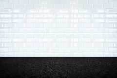 Empty room with white ceramic tile wall and stone floor, Backgro Stock Photography