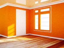Empty room with a white door and a window Royalty Free Stock Photo