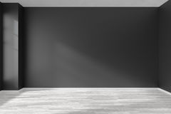 Empty room with white parquet floor and black walls. Black and white empty room with white hardwood parquet floor, black walls and sunlight from window on the Stock Image
